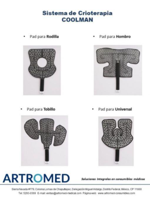Sistema de Terapia en Frio Crioterapia COOLMAN Motor aislado y pad para Rodilla ARTROMED