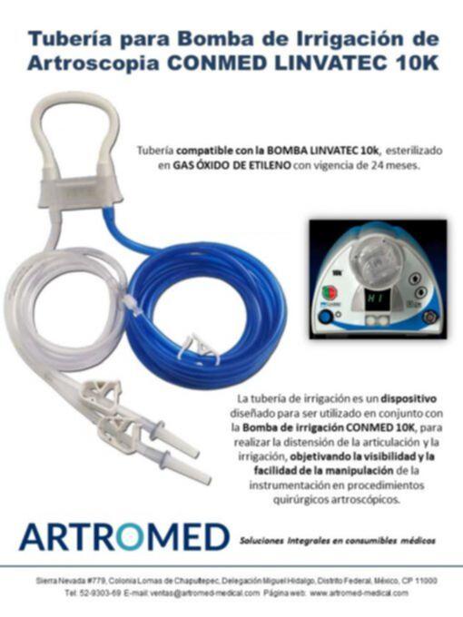 Tubería Irrigación genérica 10K100 para bomba Artroscopia LINVATEC 10K Folleto