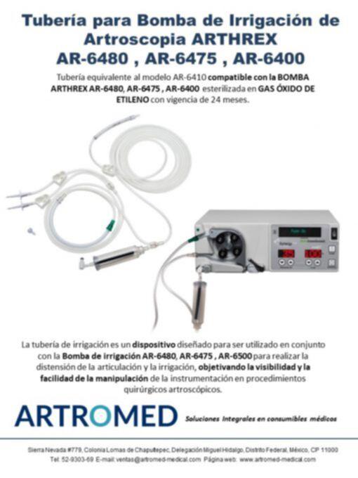 Tuberías para Bomba de Irrigación Artroscopia Arthrex AR 6480 y AR-6475 Folleto